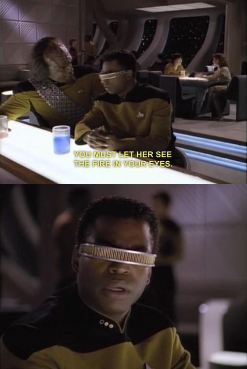 Michael Dorn,Worf,eyes,levar burton,blind,Geordi Laforge