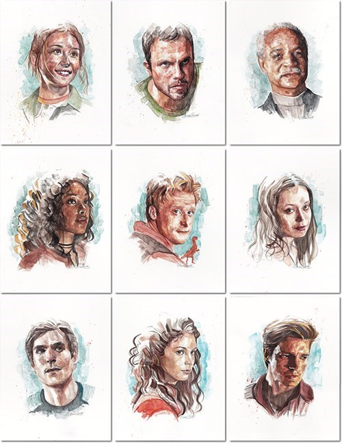 Watercolor Paintings of the Serenity Crew