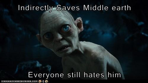 hates,Lord of the Rings,saves,gollum,middle earth,Sméagol,bad luck
