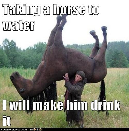 Taking a horse to water  I will make him drink it