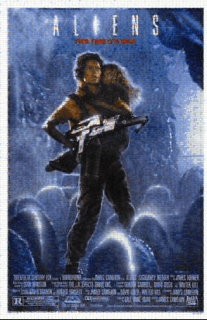Aliens Poster Created Using Thousands of Image Stills From the Film