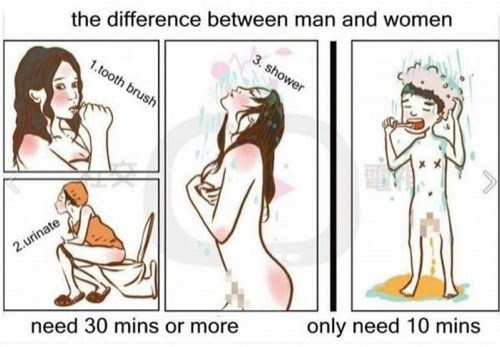 difference,sexy,men vs women,showering