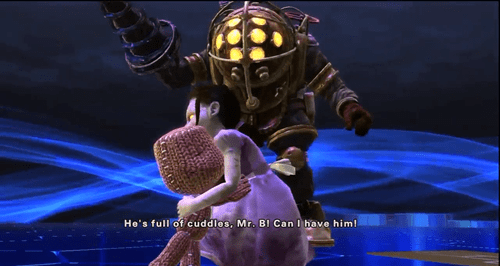 Sackboy and Little Sister Hug it Out