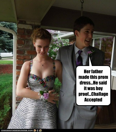 Her father made this prom dress...He said it was boy proof...Challage Accepted