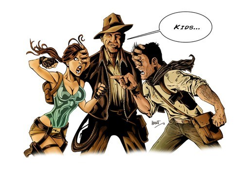lara croft,Indiana Jones,nathan drake