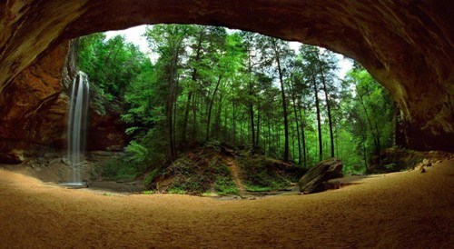 Forest,ohio,cave,landscape,waterfall
