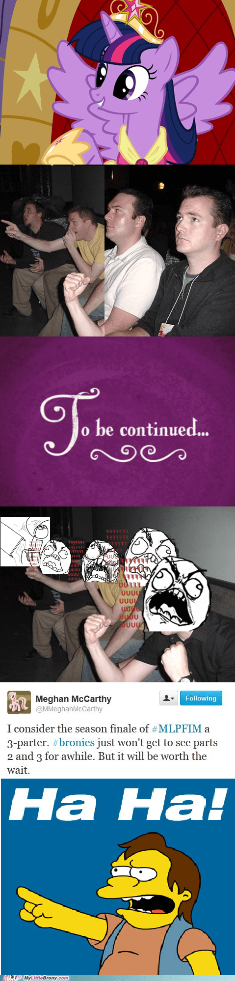 season finale,to be continued,magical mystery cure,three parter