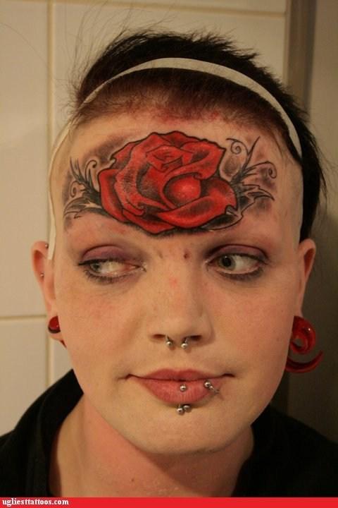rose,forehead tattoos,piercings