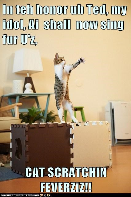 In teh honor ub Ted, my idol, Ai  shall  now sing fur U'z,  CAT SCRATCHIN FEVERZiZ!!