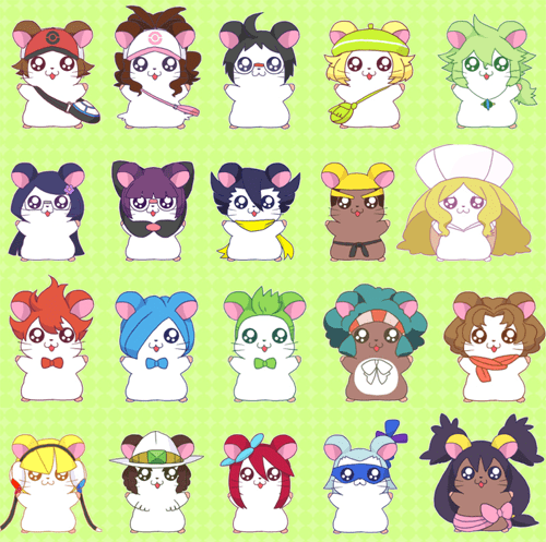 crossover,hamtaro,anime,cute
