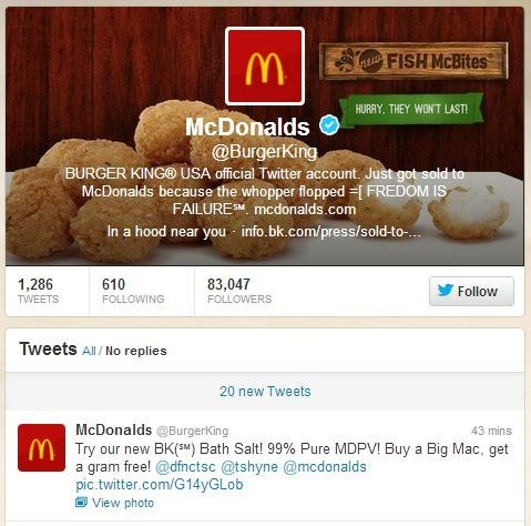 Burger King Official Twitter Account Hacked