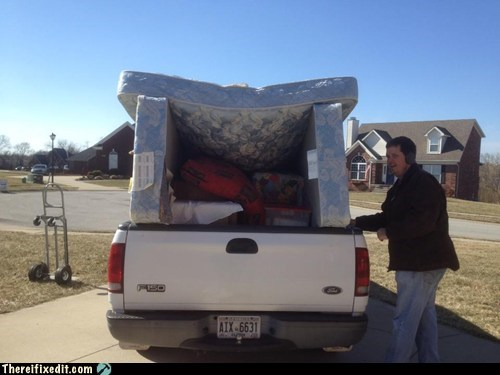 moving day,u-haul,pickup,mattresses