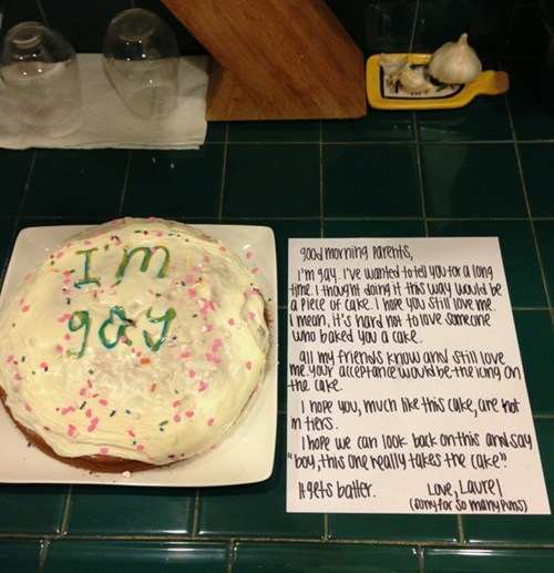 cake,coming out,LGBT,gay,notes