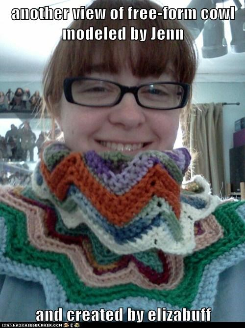 another view of free-form cowl modeled by Jenn  and created by elizabuff