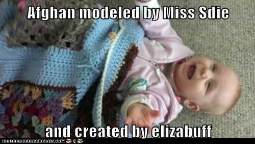 Afghan modeled by Miss Sdie  and created by elizabuff