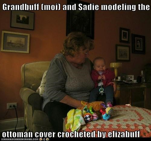 Grandbuff (moi) and Sadie modeling the  ottoman cover crocheted by elizabuff