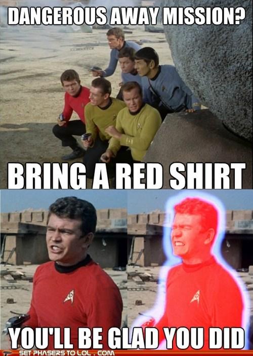 Captain Kirk,red shirts,away mission,Star Trek,William Shatner