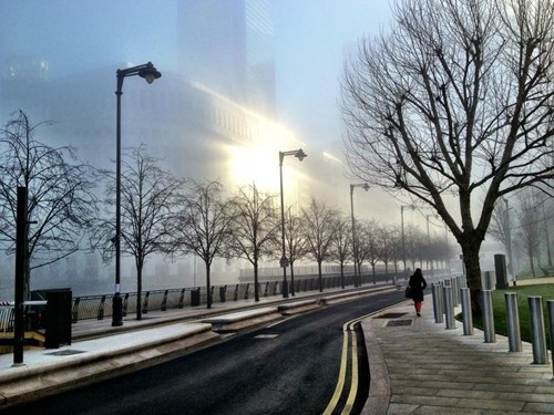 wharf,London,cityscape,fog