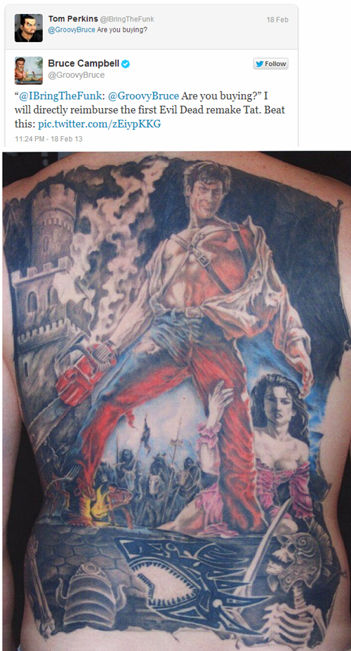 Bruce Campbell Will Pay for Your Evil Dead Tattoo if You Can Get One Superior to This Epic Back Tat!
