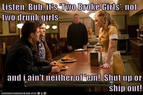 jensen ackles,Two Broke Girls,Supernatural,dean winchester,sam winchester,Jared Padalecki,diner