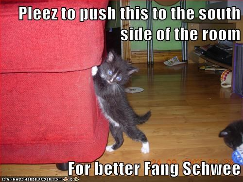 Pleez to push this to the south side of the room  For better Fang Schwee