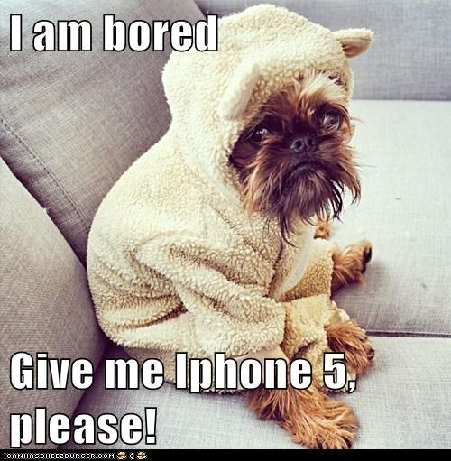 I am bored  Give me Iphone 5, please!