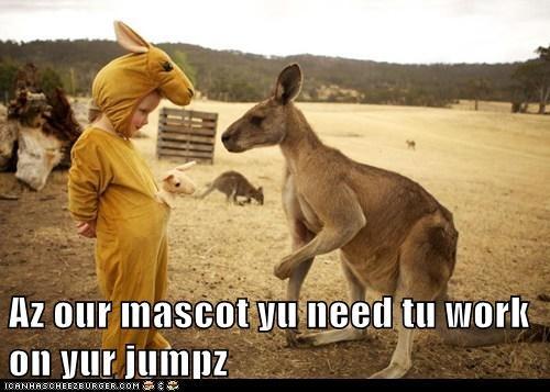 costume,mascot,kids,kangaroos,jumping