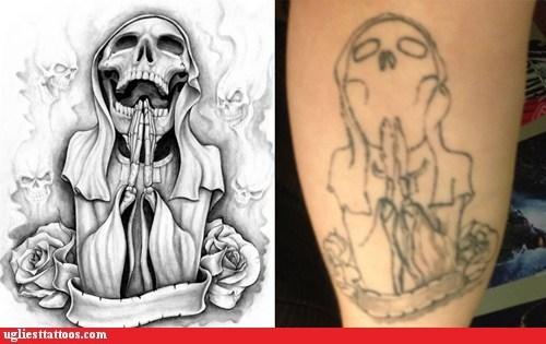 leg tattoos,grim reaper,Nailed It