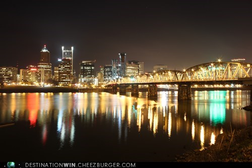 Admiring the Skyline of Downtown Portland