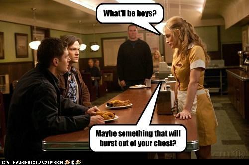 jensen ackles,Supernatural,dean winchester,chest burst,sam winchester,Jared Padalecki