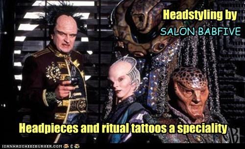 Babylon 5,heads,salon,delenn,Mira Furlan,peter jurasik,londo mollari