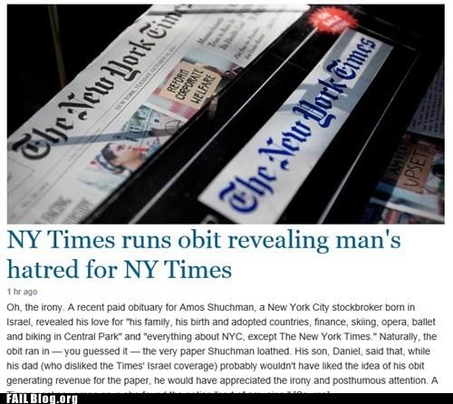 New York Times FAIL, or Obituary WIN?