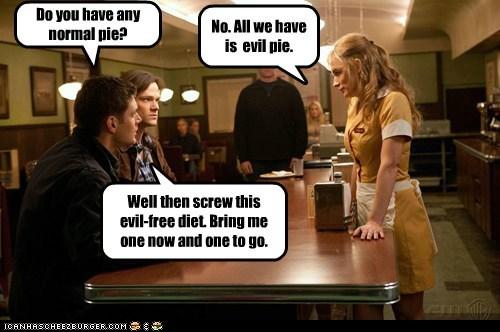 jensen ackles,evil,Supernatural,dean winchester,pie,sam winchester,Jared Padalecki