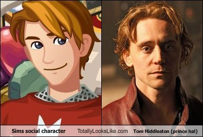Sims social character Totally Looks Like Tom Hiddleston (prince hal)