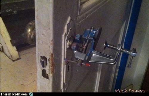 door,door handle,wrench