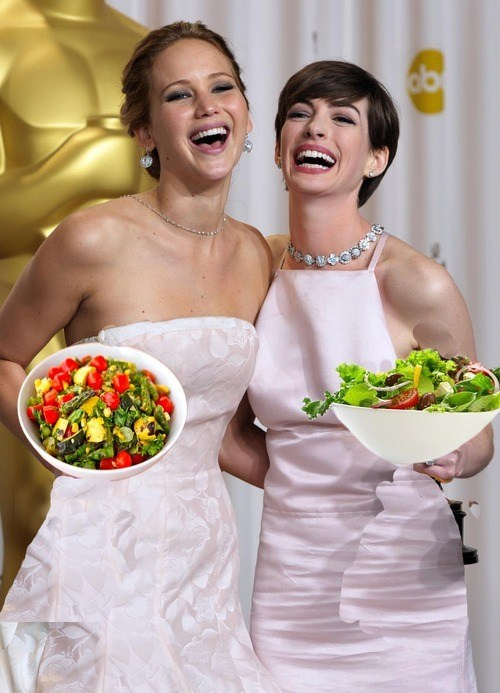 anne hathaway,jennifer lawrence,salads,laughing,oscars 2013
