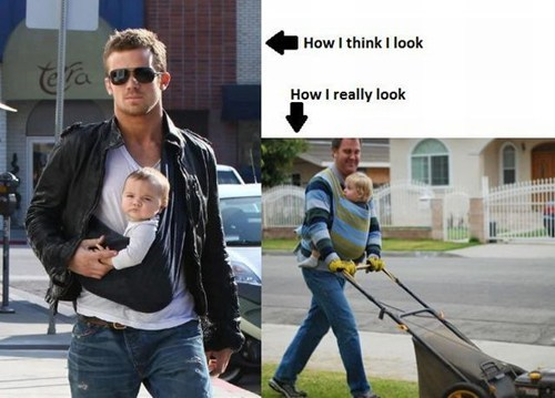 expectations vs reality,baby sling,Cam Gigandet