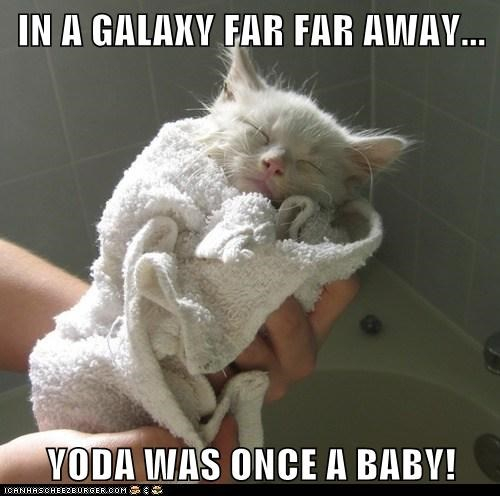 IN A GALAXY FAR FAR AWAY...  YODA WAS ONCE A BABY!