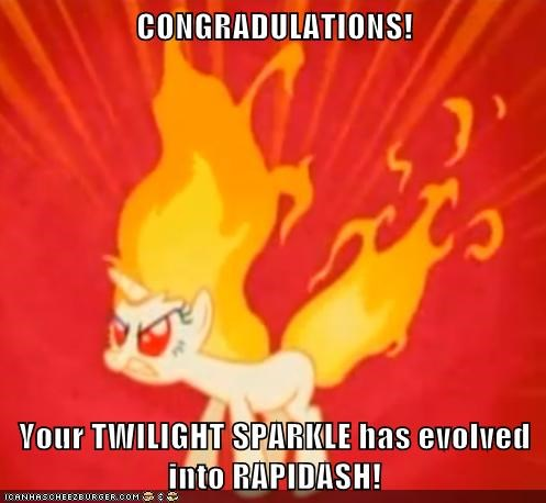 CONGRADULATIONS!  Your TWILIGHT SPARKLE has evolved into RAPIDASH!