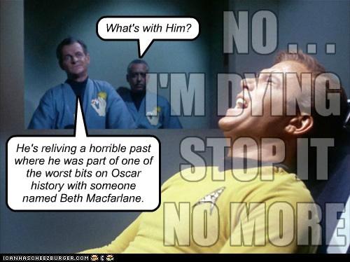 Captain Kirk,pain,Seth MacFarlane,memoreis,Star Trek,William Shatner,oscars