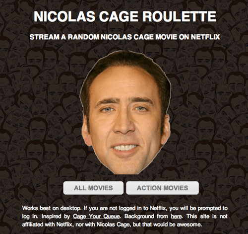 Are You a Bad Enough Dude to Play Nicolas Cage Roulette?