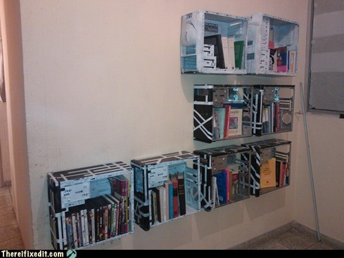 bookshelf,computer case,computer tower,recycling,g rated,there I fixed it