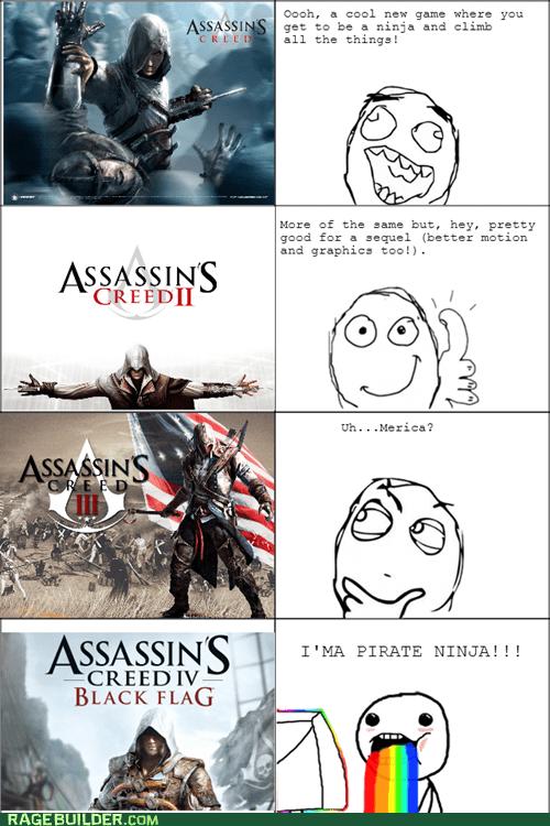 Ubisoft,me gusta,ninjas,pirates,assassins creed,Assassin's Creed IV,rainbow guy