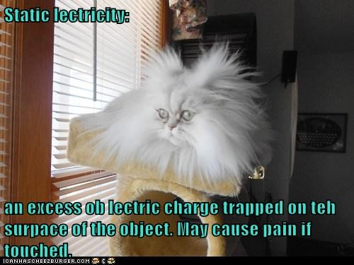Static lectricity:  an excess ob lectric charge trapped on teh surpace of the object. May cause pain if touched.