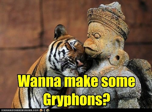 flirting,tigers,statue,gryphons