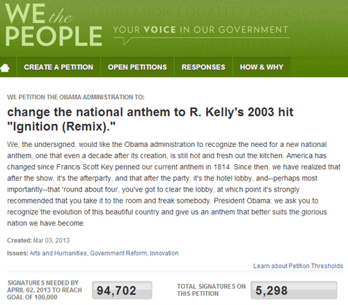 White House Petition of the Day: 'Ignition (Remix)' as the National Anthem