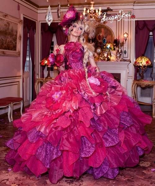 crazy,Fluffy,pink,dress