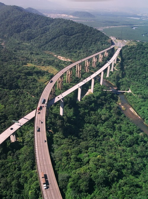 Drive Over the Trees at the Rodovia dos Imigrantes Highway, Brazil