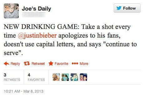 apologizing,drinking games,justin bieber