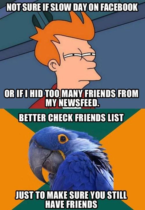 not sure if,facebook,Futurama Fry,Paranoid Parrot
